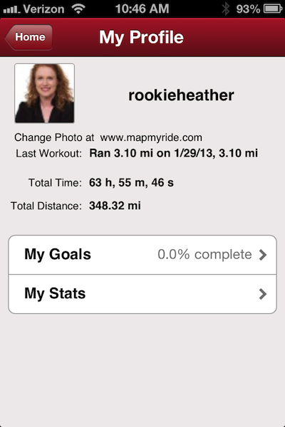 profile screen on running app