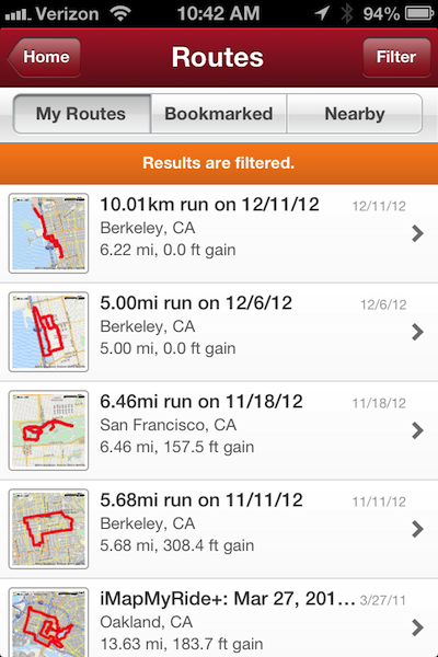 app screen showing routes