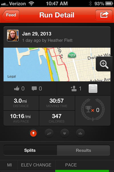 Strava run detail screen